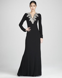 Long-Sleeve Deco-Bead Gown by Badgley Mischka Couture in Gossip Girl