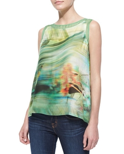 Green Lori Sleeveless Tropical Print Blouse by Elie Tahari in Sisters