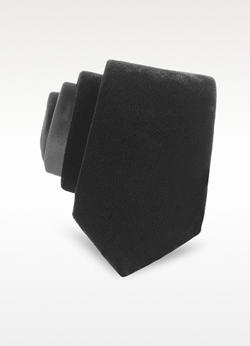 Silk And Velved Solid Silk Narrow Tie by Saint Laurent in The Gift