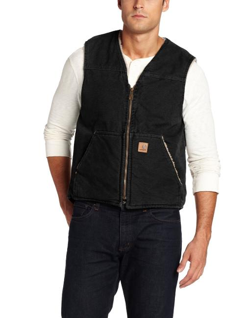 Men's Sherpa Lined Sandstone Duck Rugged Vest by Carhartt in The Expendables 3