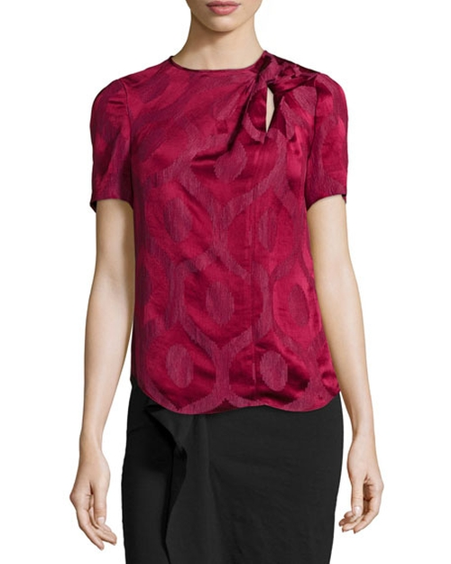 Short-Sleeve Twisted-Keyhole Blouse by Isabel Marant in Pretty Little Liars