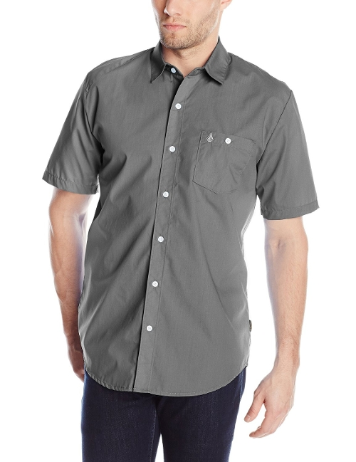 Everett Solid Short Sleeve Shirt by Volcom in Safe House