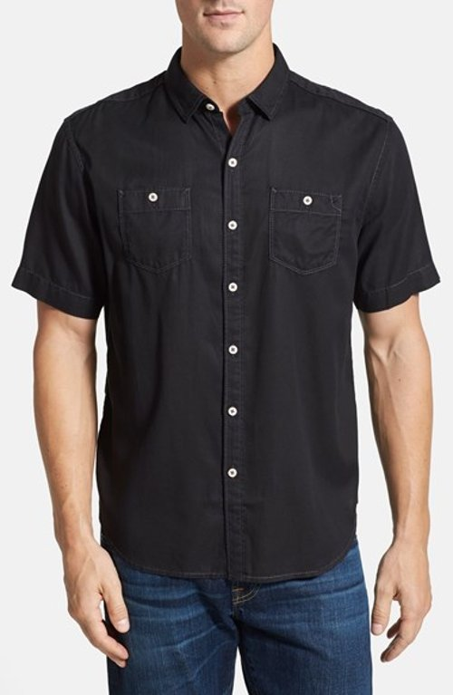 New Twilly Island Short Sleeve Twill Shirt by Tommy Bahama in Black or White