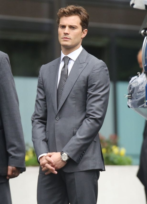 Custom Made Gray Slim Fit Suit by Mark Bridges (Costume Designer) in Fifty Shades of Grey