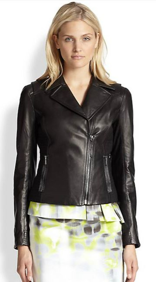 Friva Leather Jacket by Elie Tahari in The Mindy Project - Season 4 Episode 1
