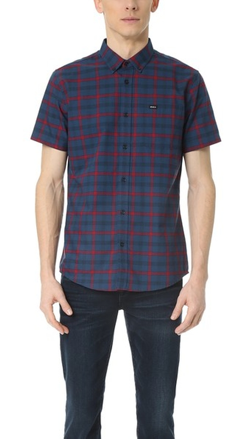 That'll Do Plaid Short Sleeve Shirt by RVCA in Pretty Little Liars