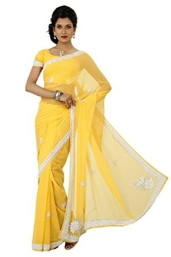 Embellished Yellow Chiffon Saree by VinHem Fashion in The Mindy Project