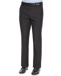 Marlo Ganler Large-Plaid Wool Trousers by Theory in The Second Best Exotic Marigold Hotel