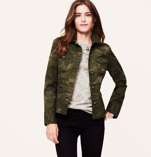 Camo Buttoned Field Jacket by Loft in If I Stay