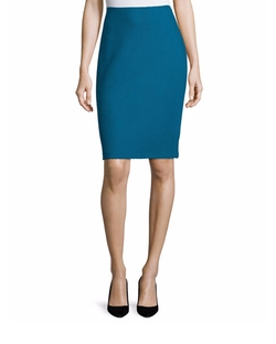 Textural Twill Pencil Skirt by St. John Collection in Scream Queens