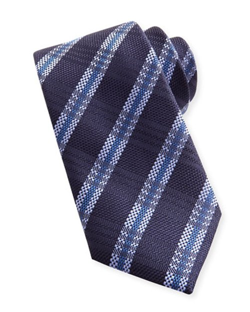 Striped Plaid Woven Tie by Brioni in A Most Violent Year