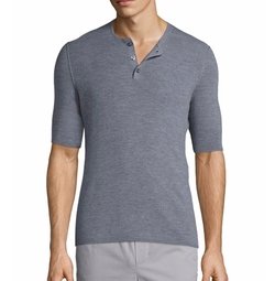 Ribbed Short-Sleeve Wool-Silk Henley Shirt by Vince in Shadowhunters