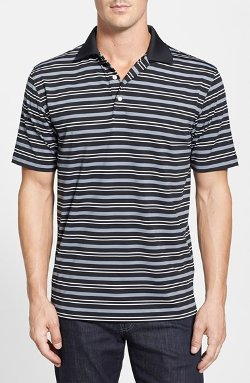 Ashe Stripe Stretch Jersey Polo by Peter Millar in Focus