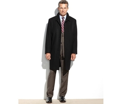 Coventry Solid Wool-Blend Overcoat by London Fog in Black Mass