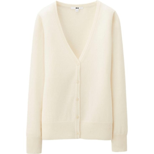 Women Cashmere V Neck Cardigan by Uniqlo in The Boy