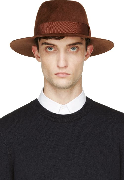 Brown Rabbit Felt Classic Fedora Hat by Larose in Cinderella