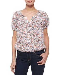 Linara Floral-Print Button-Down Blouse by Joie in Valentine's Day