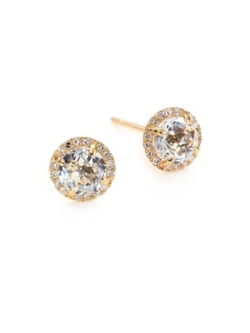 Diamond White Topaz Yellow Gold Stud Earrings by EF Collection in The Bachelorette