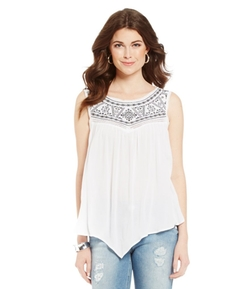 Embroidered Hanky Hem Tank by Democracy in Billions