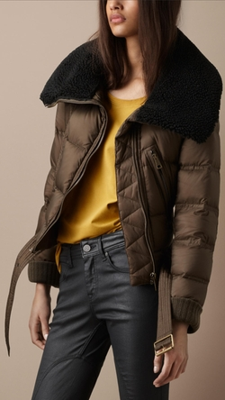 Shearling Collar Cropped Jacket by Burberry Brit in Keeping Up With The Kardashians
