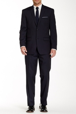 Woven Two Button Notch Lapel Wool Suit by Marc New York in She's Funny That Way