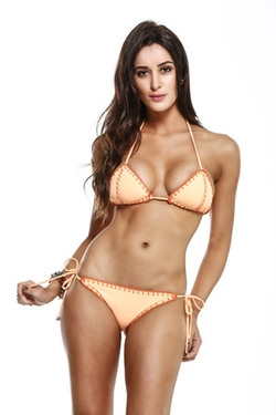Crochet Stitching Triangle Top Bikini by Guria Beachwear in The Bachelorette