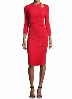 Long-Sleeve Ruched Sheath Dress by Just Cavalli in Grace and Frankie