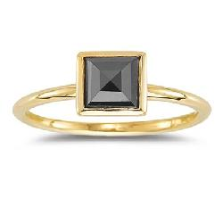 Square Rose Cut Black Diamond Solitaire Ring by Vogati in Vampire Academy