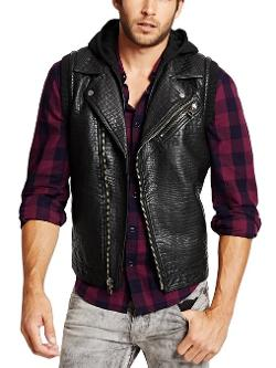 Men's Faux-Leather Hooded Moto Vest by Guess in Savages