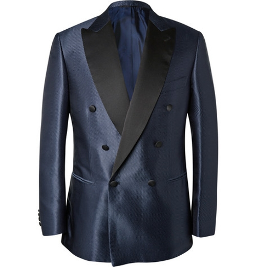 Blue Slim-Fit Silk-Jacquard Tuxedo Jacket by Brioni in Entourage