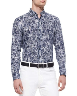 Paisley-Print Linen Sport Shirt by Ermenegildo Zegna in Spy