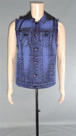 Cobalt Cloud Wash Hooded Denim Vest by Rude in The Best of Me
