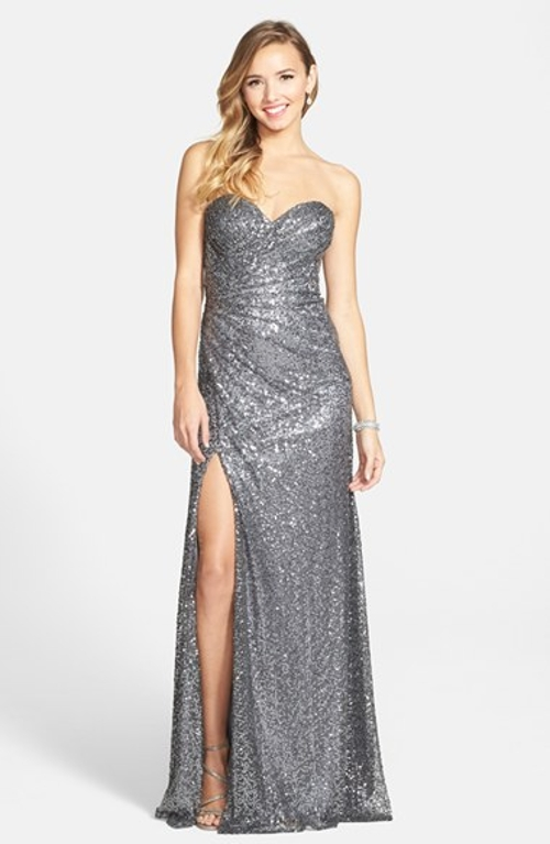 Strapless Sequin Gown by La Femme in Adult Beginners