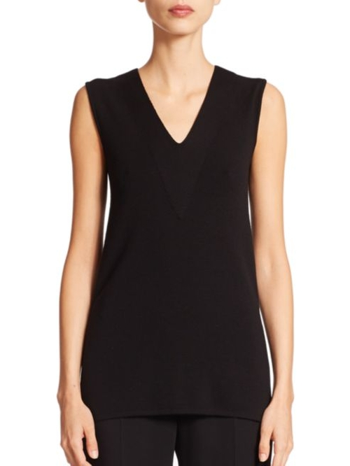 Architecture Collection Sleeveless V-Neck Wool Shell Top by Akris in Billions