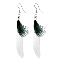 Rosallini Lady White Faux Feather Fish Hook Earrings