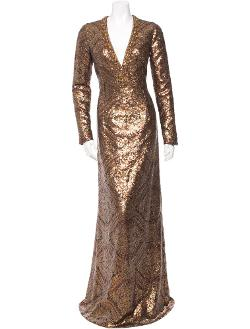 Long-sleeve Sequin Gown With Plunging V-neck by Andrew Gn in New Year's Eve