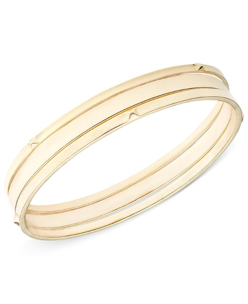Gold-Tone Flat and Studded Bangle Bracelet by Nine West in Entourage