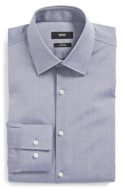 'Jacob' Slim Fit Easy Iron Dress Shirt by Boss Hugo Boss in Blackhat