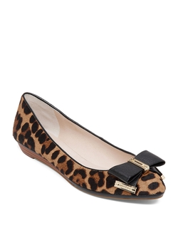 Leopard-Print Calf Hair Flat Shoes by Louise Et Cie in Black-ish
