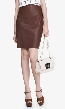 High Waist Leather Pencil Skirt by Express in Black-ish