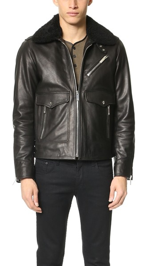 Leather Jacket With Shearling by The Kooples in Life