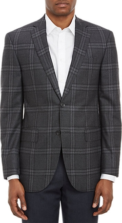 Plaid Two-Button Sportcoat by Barneys New York in Black-ish