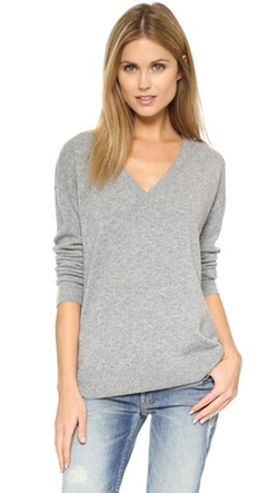 Cashmere V Neck Sweater by 525 America in Black-ish