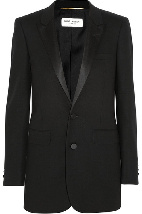 Satin-Trimmed Wool-Crepe Tuxedo Blazer by Saint Laurent in Keeping Up With The Kardashians - Season 11 Episode 12