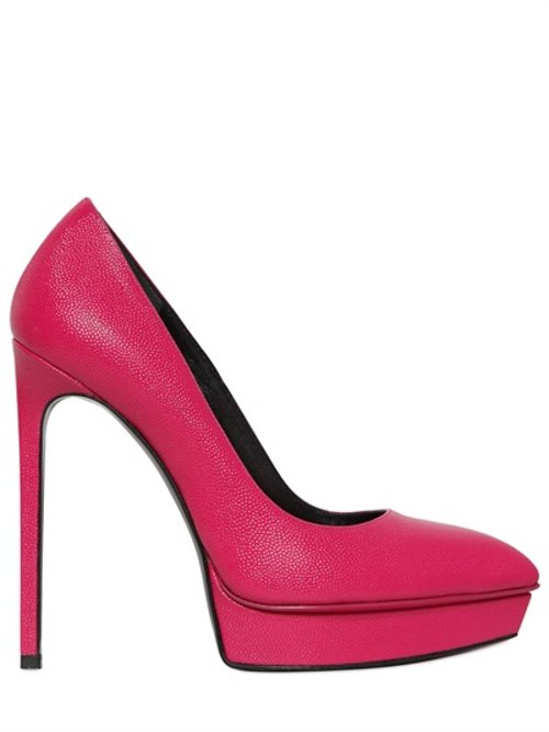 Janis Tumbled Leather Pumps by Saint Laurent in Only God Forgives