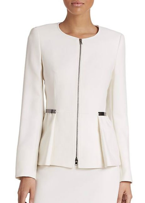 Wool Zip-Front Peplum Jacket by Escada in The Good Wife - Season 7 Episode 7