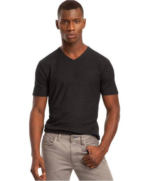 Core Slub V-Neck T-Shirt by Kenneth Cole Reaction in Creed