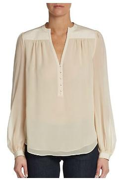 Chloe Silk-Chiffon Peasant Top by Diane Von Furstenberg in Limitless