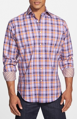 Regular Fit Windowpane Plaid Sport Shirt by Thomas Dean in Modern Family