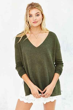 Easy V-Neck Sweater by Kimchi Blue in Whiskey Tango Foxtrot